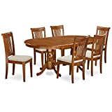 Cheap East West Furniture PLPO7-SBR-C 7-Piece Formal Dining Table Set