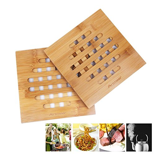 Trivet Mat Set for Kitchen,Hot Pot Holder Pads Bamboo Coasters of 2 Pack,Hot Pads,Teapot Trivet by Artmeer (Bamboo)