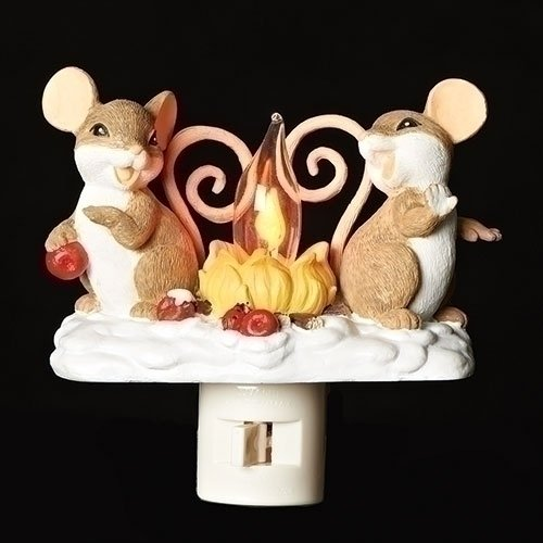 (Campfire Friendly Mice 5 inch Swivel Base Plug-in Flickering Nightlight)