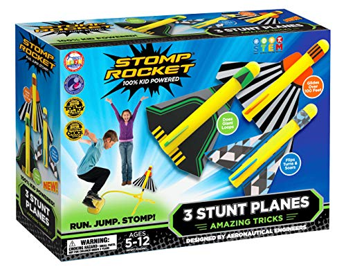 Stomp Rocket Stunt Planes - 3 Foam Plane Toys for Boys and Girls - Outdoor Rocket Toy Gift for Ages 5 (6, 7, 8) and Up (Rocket Birthday)