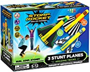 Stomp Rocket Stunt Planes - 3 Foam Plane Toys for Boys and Girls - Outdoor Rocket Toy Gift for Ages 5 (6, 7, 8