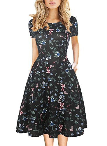 Women's Vintage Work Casual Round Neck Floral Pocket Tunic Cocktail Party A-Line Dress 162 Black XL