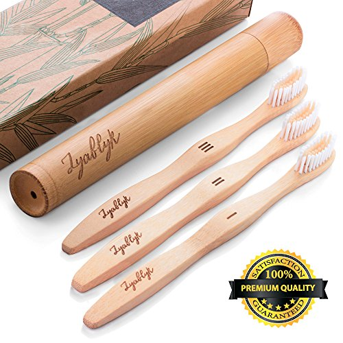 Zyablyk Bamboo Toothbrush Set With Travel Toothbrush Case, Pack of 3 Natural Bamboo Toothbrushes And Biodegradable Toothbrush Holder, Soft Bristle, BPA Free