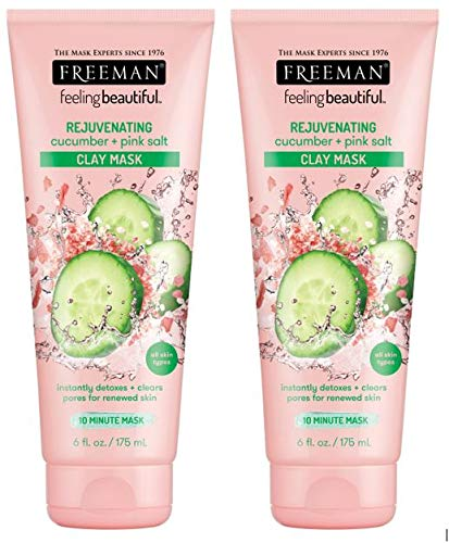 Freeman Facial Cucumber+Pink Salt Rejuvenate Clay Mask 6 Ounce (Pack of 2)