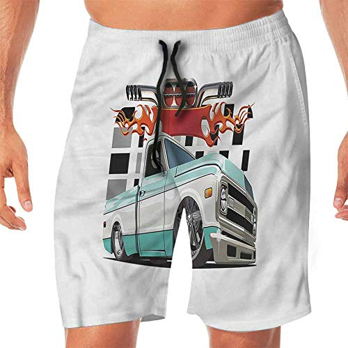 Quick-Dry Beach Swim Shorts Truck,Lowrider Pickup Vehicle Shorts for Teen XL ()