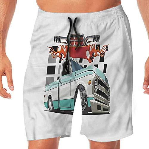 Lowrider Sliding Shorts - Quick-Dry Beach Swim Shorts Truck,Lowrider Pickup Vehicle Shorts for Teen XL