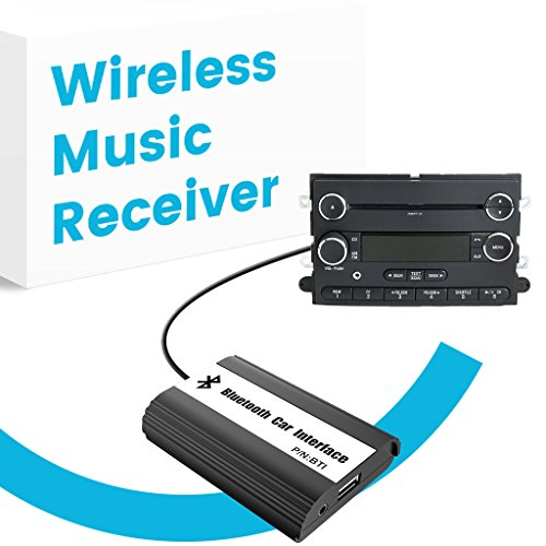 APPS2Car Car Stereo Bluetooth Adapter Wireless Music Receiver AUX USB Interface for Ford Edge Explorer F150 F250 F350 F550 Focus Freestyle Fusion Mustang Sport, Lincoln MKX Navigator, Mercury Milan