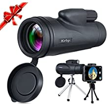 Monocular Telescope, Low Light Night Vision Monocular Telescope 12X50 High Power Prism with Tripod/Phone Clip ETC, for Bird Watching/Hunting/ Camping/Hiking / Golf/Concert/ Surveillance