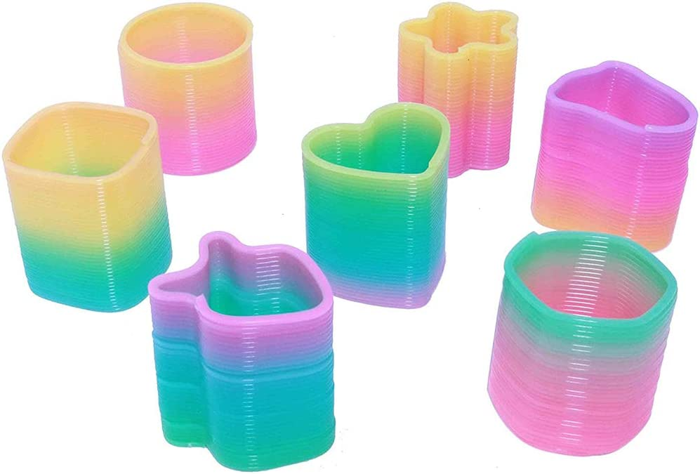 The Dreidel Company Plastic Slinky Coil Spring 1.5 Goody Bag Fillers Variety of Shapes and Colors 50-Pack Party Favor for Kids