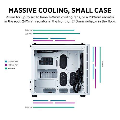 Corsair Crystal 280X Case per PC Micro ATX Vetro Temperato, Bianco