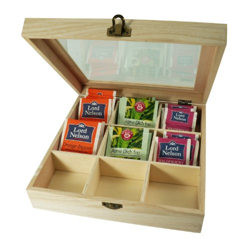 Incutex caja almacenaje te, caja te compartimentos, caja te bolsitas, caja te madera con 9 compartimentos y ventana transparente