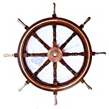 Heavy Nautical 36'' Ship Wheel With Brass Ring & Handles - Pirate Decor - Nagina International