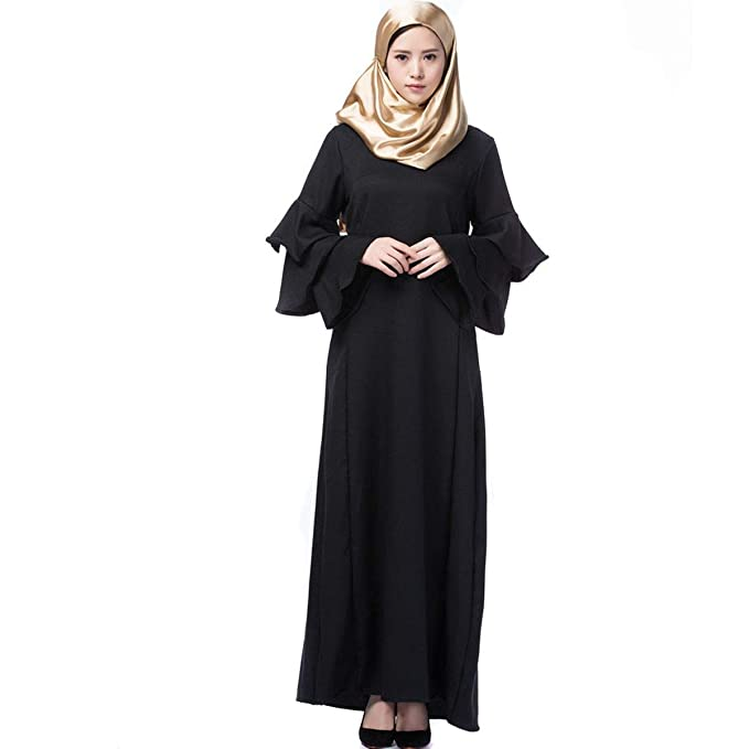c725692ae8 Amazon.com: Women Bell Long Sleeve Dress Muslim Loose Fit Full ...