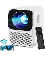 WANBO T2 MAX Mini Beamer, miniprojektor Full HD WLAN Bluetooth, 720P Full HD hemmabio Beamer, lektronisk korrigering, dubbla högtalare, LED-projektor kompatibel med TV-minne, HDMI, USB, iOS/Android