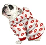 Plus Size Pups English Bulldog Dog Sweatshirts - Sizes Beefy and Bigger Than Beefy with More Than 20 Fleece Patterns to Choose from! (Bigger Than Beefy, Red Lips)