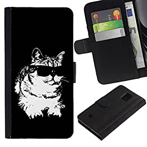 Samsung Galaxy S5 Mini / SM-G800 (Not For S5!!!) , la tarjeta de Crédito Slots PU Funda de cuero Monedero caso cubierta de piel ( Cat Sunglasses Cool Black White Feline)