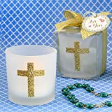 24 Cross Themed White Frosted Glass Candle Votive Holders