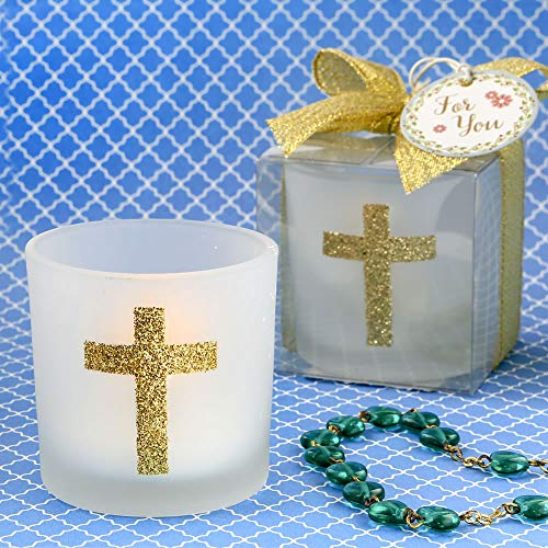 Cross Votive Holder - Cross Themed White Frosted Glass Candle Votive Holder (25)