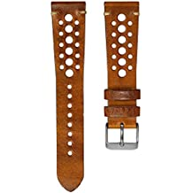 Geckota Vintage Gillingham Genuine Leather Perforated Racing Watch Band, Brown, 22mm