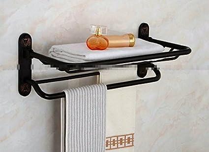 PEIWENIN Cuarto de baño inodoros Europeo Estilo baño baño Cobre Negro Doble doblado toallero Estante Estilo