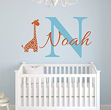 Custom Giraffe Name Wall Decal   Boys Kids Room Decor   Nursery Wall Decals    Giraffe