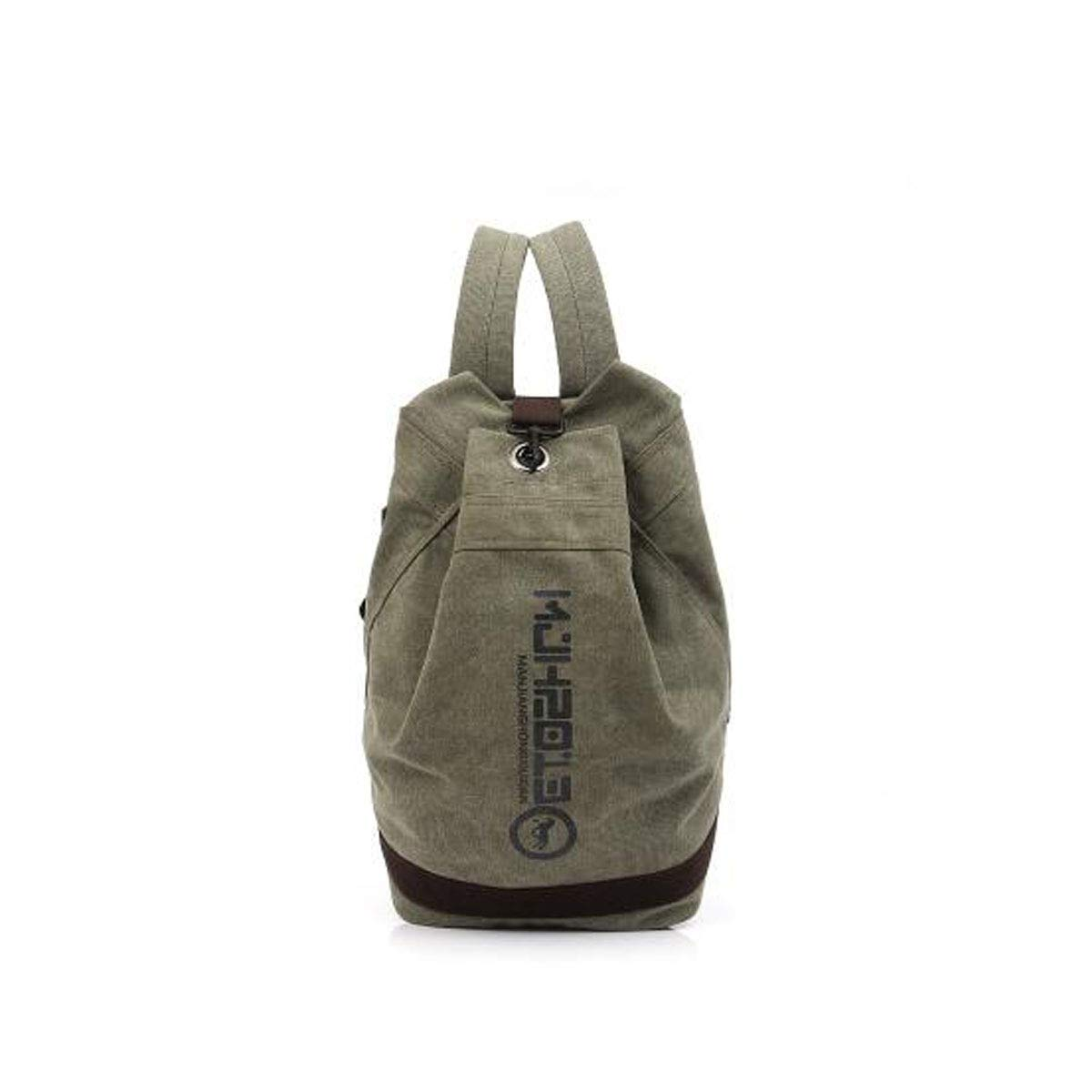 HENG Canvas Backpack, Vintage Canvas Hiking Backpack, Computer Backpack Unisex Casual Bag for Hiking, Traveling & Camping (color   Army Green)