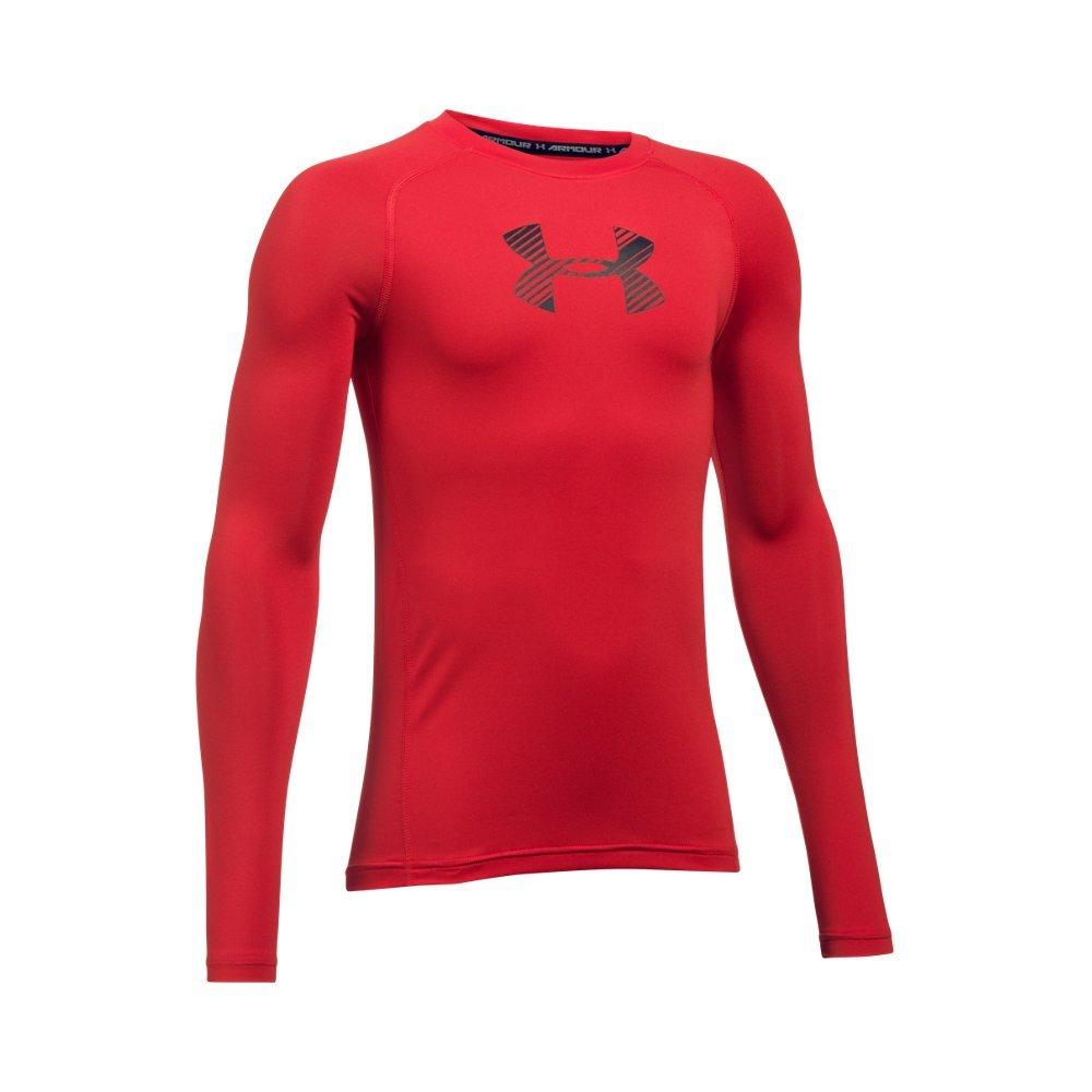 Under Armour Boys' HeatGear Armour Long Sleeve, Red /Black, Youth X-Small