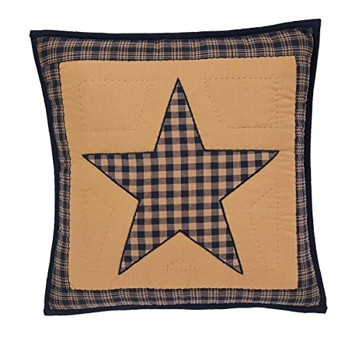 (VHC Brands Classic Country Primitive Pillows & Throws - Teton Star Tan Quilted 16