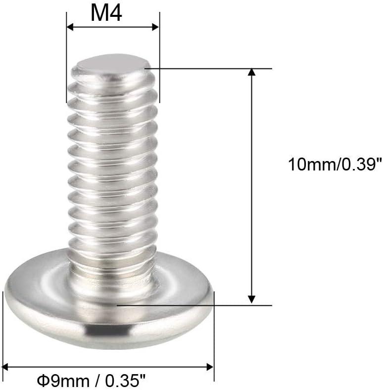 Sourcing map Lot de 10 vis /à t/ête cruciforme M4 x 45 mm en acier inoxydable 304