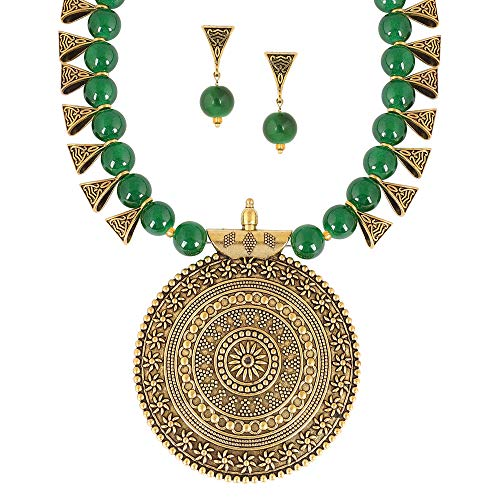 MUCH-MORE Indian Oxidized Colored Pearl Beaded Tribal Disk Necklace Set Traditional Jewelry for Womens (2544Green)