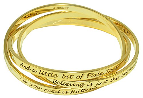 Disney Couture Tinkerbell Interlocking Triple Gold Plated Bangle Bracelet
