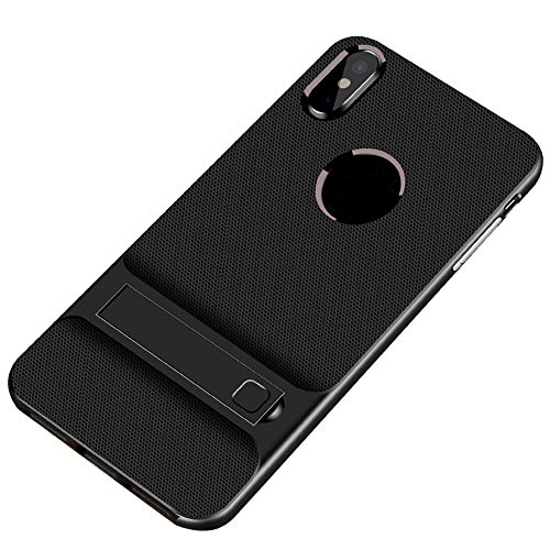 Clear Anti-Scratch Shock,2in1 Black Grain Standing Bracket Design Phone Case for iPhone Xs Max 6.5Inch ()