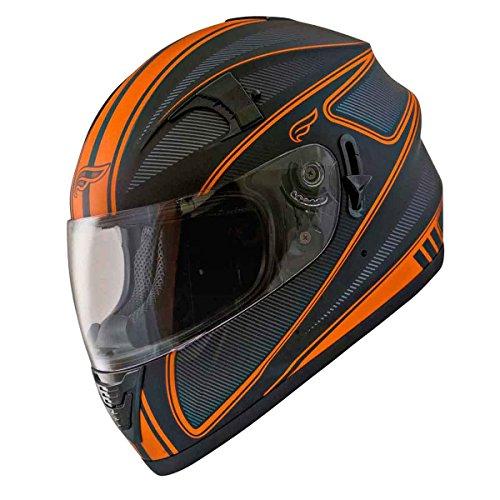 Fulmer, AF-62B2497E, Adult Full Face Street Motorcycle Helmet w/iShade DOT/ECE Approved - Orange Edge, L - Edge Motorcycle Helmet
