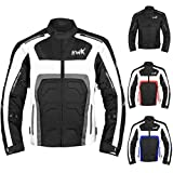 Textile Motorcycle Jacket For Men Dualsport Enduro Motorbike Biker Riding Jacket Breathable CE ARMORED WATERPROOF (Grey, M)