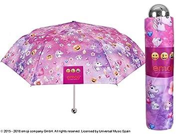 PERLETTI 75271 Mini 50/8 Hombre 3 Sect Impreso Emoji Cortavientos con Exhibidor Caja Paraguas