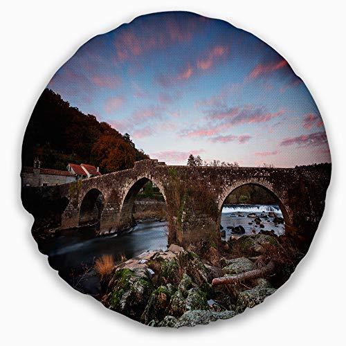 Designart CU9424-16-16-C Old Roman Bridge in Spain' Landscape Photo Throw Cushion Pillow Cover for Living Room, Sofa, 16'' Round by Designart