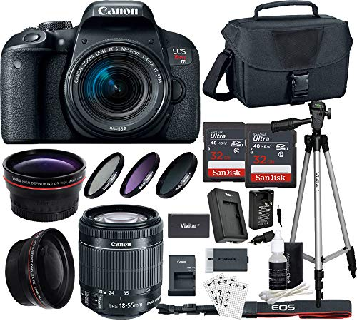 Canon EOS T7i DSLR Camera with 18-55mm is STM Lens w/64GB SanDisk Hi Speed Memory Bundle w/Accessories Bundle – Authorized Canon Dealer
