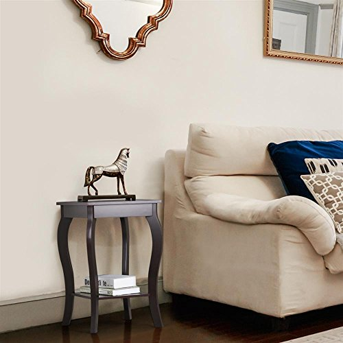Topeakmart Wood Curved Legs Accent Side End Table Sofa End Table w/Lower Shelf Espresso, Set of 2 by Topeakmart (Image #2)