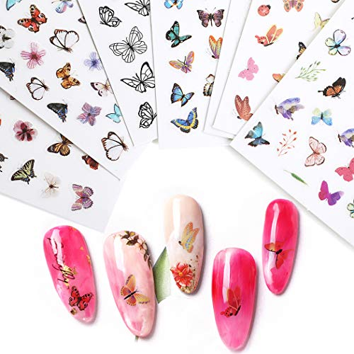 B bangcool Butterfly Nail Sticker DIY Nail Art Stickers for Gel Nails Decals for Women Nail Art Accessories kit, Nail Art Foils for Nails Design Nail Art Decal Stickers for Nail Salon Nails Supply