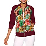 PENGYGY Women's Pineapple Print Coat Jackets Waterproof Hooded Jacket Outwear Fashion Autumn and Winter