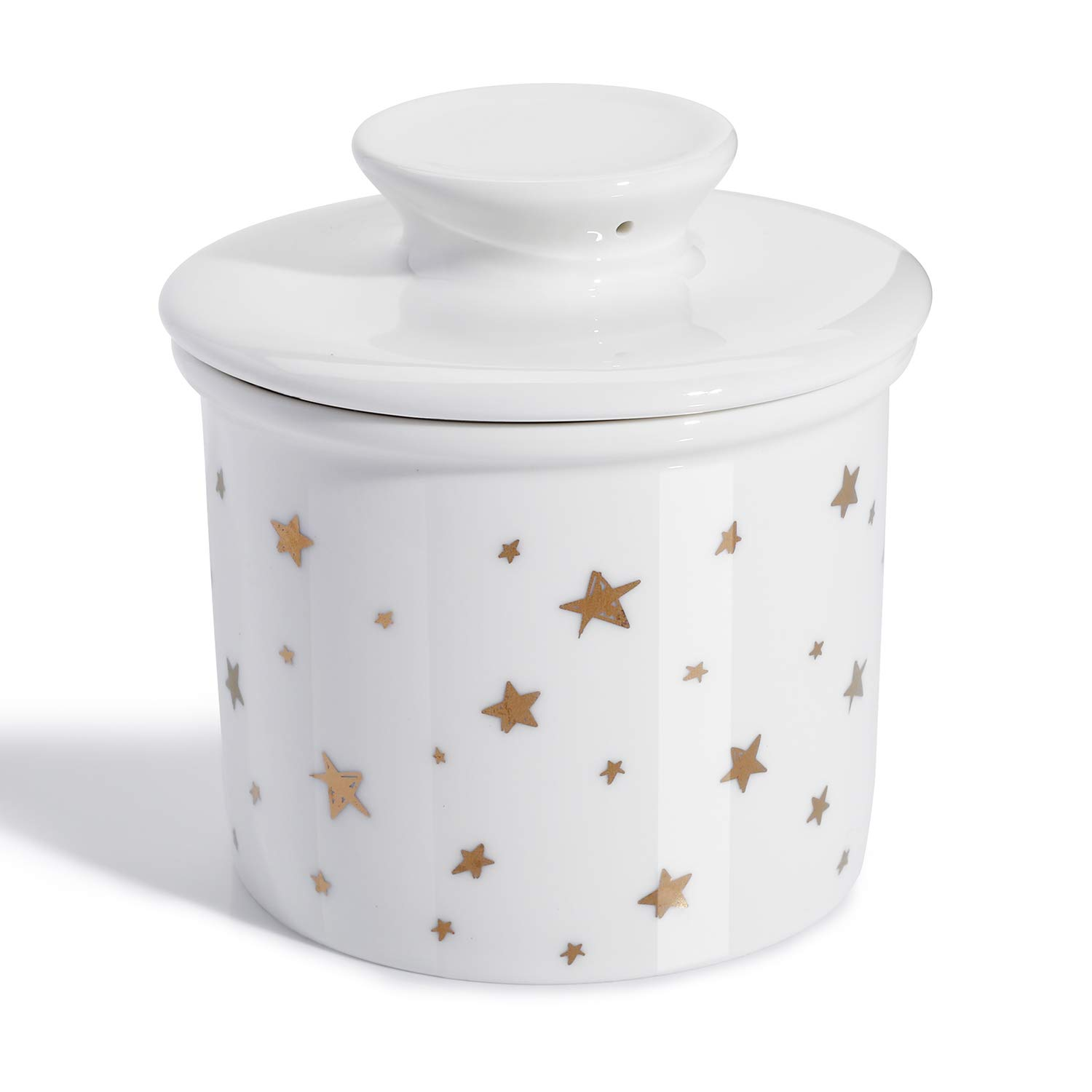 【Flash Deal】Sweese 305.229 Porcelain Butter Keeper Crock - French Butter Dish - No More Hard Butter - Perfect Spreadable Consistency, Star 51L5vsatdrL
