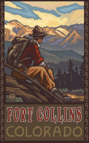 Northwest Art Mall Fort Collins Colorado Mountain Hiker Man Artwork by Paul A Lanquist, 11-Inch by - Mall Collins Fort