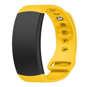 Pulsera de bandas de repuesto para Gear FIT2 sm-r360, 145 – 195 mm correa de silicona suave con la piel para Samsung Smartwatch