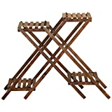 CSQ Creative X-Shaped Plant Stand/Flower Stand, Pine Four Floors Brown Wood Grain, Balcony Garden Living Room, 866524CM