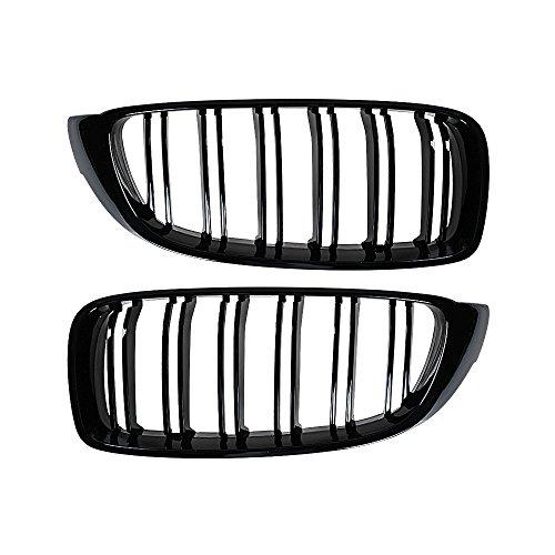 Glossy Black Front Kidney Grille LH RH for 14-17 BMW F32 F33 F36 F82 F83 428i 435i Pre-LCI