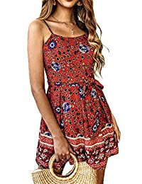 YAMTHR Womens Sexy Boho Floral Spaghetti Strap Pleated Tie Waist Short Jumpsuit Rompers