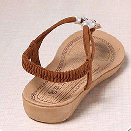 Sandalias de vestir, Ouneed ® Mujeres dama Bohemia ocio sandalias Peep Toe sandalias de cuentas marrón