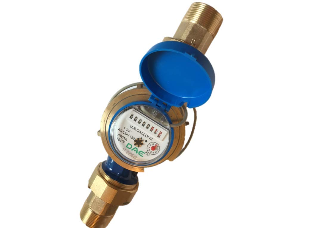DAE AS320U-150P 1-1/2'' Water Meter with Pulse Output, Measuring in Gallon + Coupling