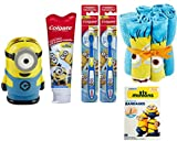 Minions Movie Exclusive Bathroom Gift Set Includes Minions Wash Cloth Pack of 6, 2 Minion Tooth Brush and 1 Toobrush Holder Minion, and Colgate 4.6 Oz Toothpaste with Bonus Minion Bandages