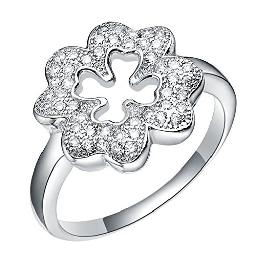 Epinki, 18k White Gold Plated Fashion Jewelry Rings Hollow Out Clover Size 9